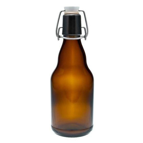 Bügelverschlussflasche 330 ml braun Glasflasche mit Drahtbügel