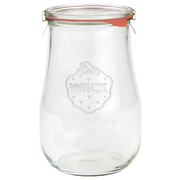 Weck Tulpenglas 1750 ml Rundrandglas mit Gummiring und Klammern