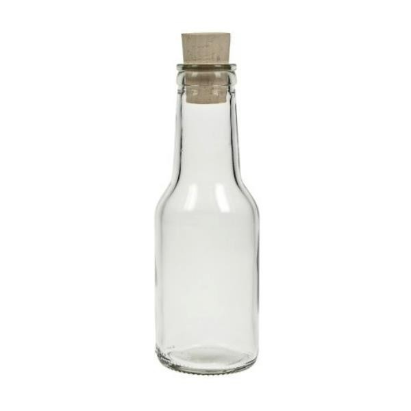 Glasflasche 150 ml rund mit Korken