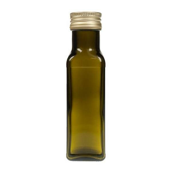 Kleine Ölflasche 100 ml braun eckig mit Schraubdeckel