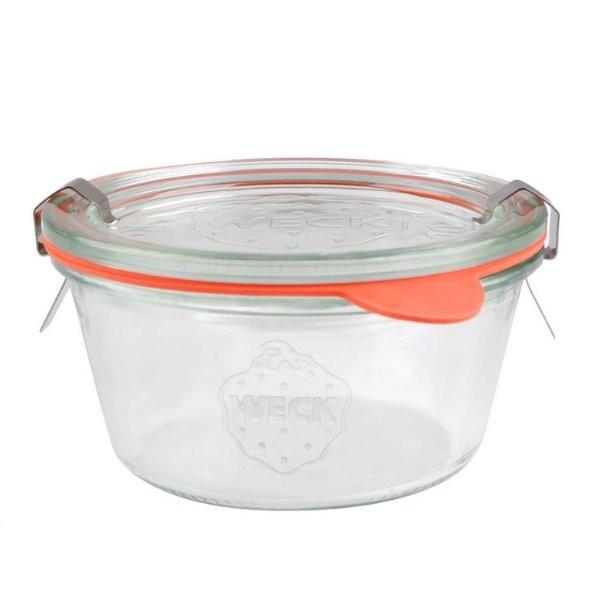 WECK Sturzglas 290 ml nieder Einmachglas mit Deckel, Gummiring und Klammern