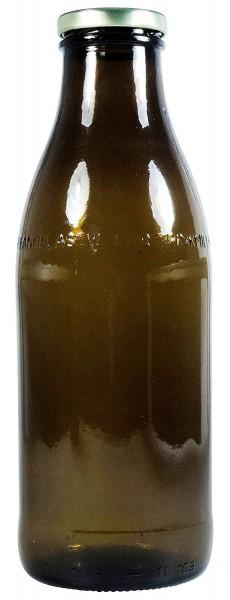 Glasflasche Milchflasche braun 1 Liter mit Twist Off Schraubverschluss