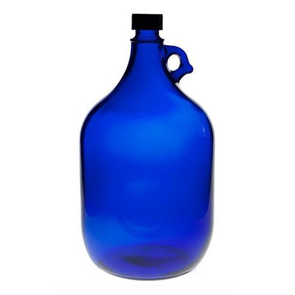 Blaue Glasflasche 5 Liter Gallone 5000 ml Wasserflasche mit Schraubdeckel und Henkel