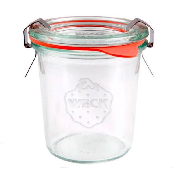 WECK Sturzglas 140 ml Einmachglas mit Deckel, Gummiring und Klammern