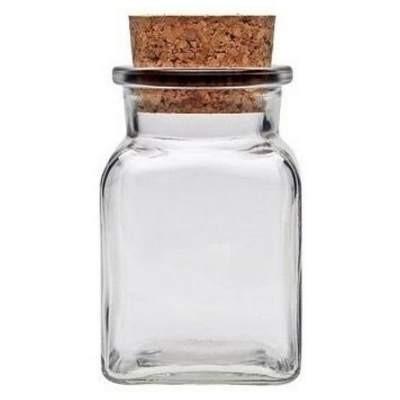 Gewürzglas 150 ml mit Korken, Korkenglas quadratisch Gewürzdose Glas eckig viereckig