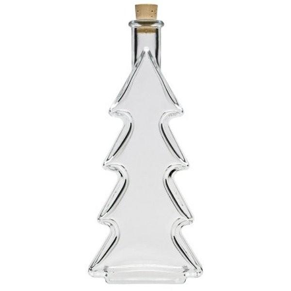 Schöne Likörflaschen für Weihnachten Glasflasche 200 ml Tannenbaum mit Korken