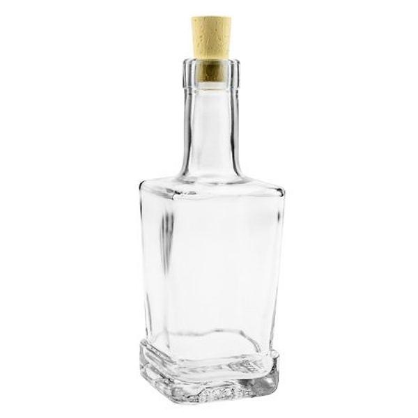 Glasflasche 250 ml eckig mit Korken