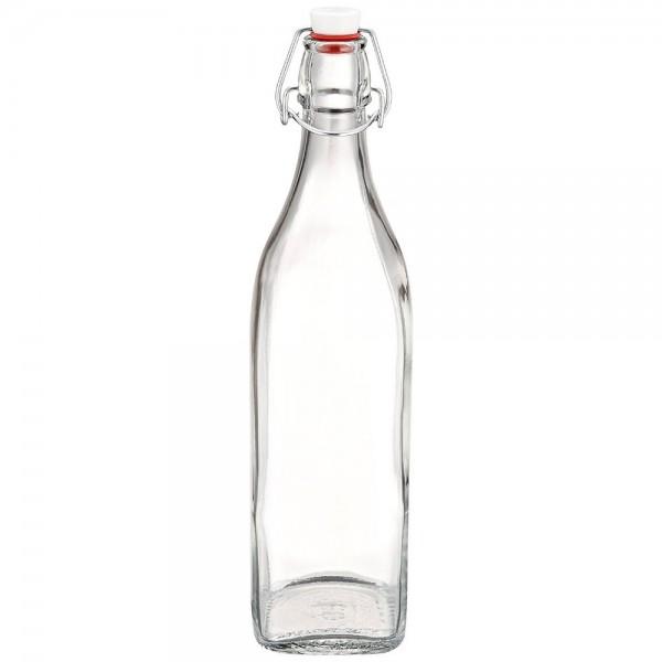 Glasflasche 1 Liter eckig mit Bügelverschluss Bormioli Swing