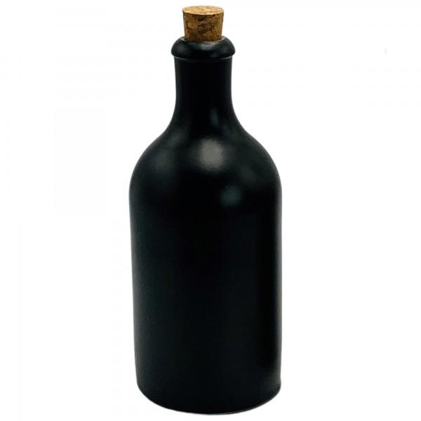 mikken Likörflasche 500 ml schwarz mit Korken Keramik