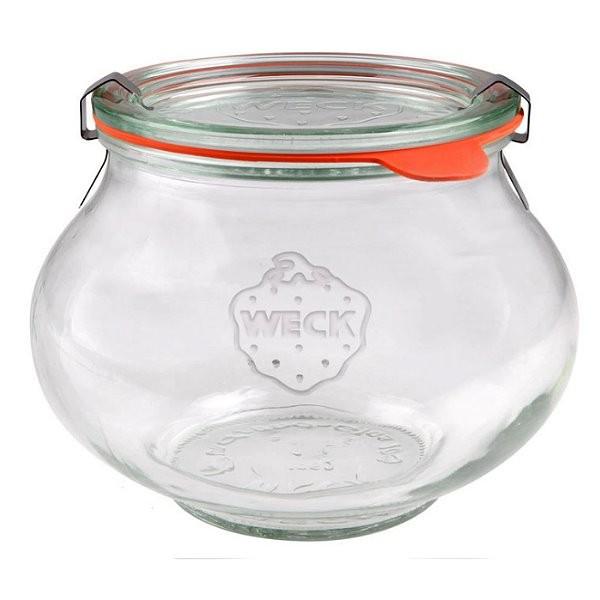 Weck Schmuckglas 1062 ml Kugelglas mit Deckel Gummiring und Klammern