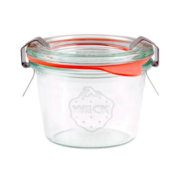 WECK Sturzglas 80 ml Mini Einmachglas mit Deckel, Gummiring und Klammern