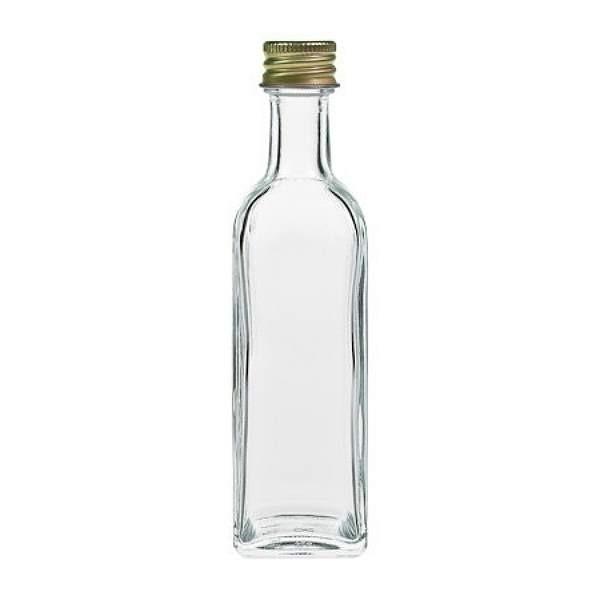 Miniflasche Glasflasche 60 ml viereckig mit Schraubverschluss