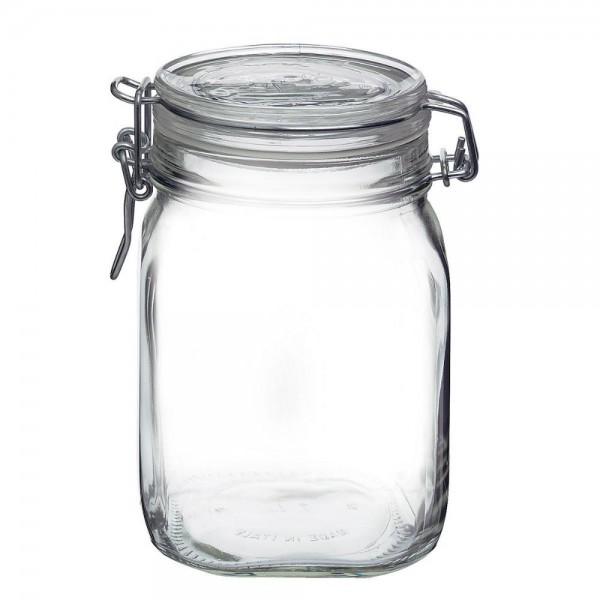 Bormioli Fido 1 Liter Einmachglas Weckglas mit Bügelverschluss Fermentierglas Vorratsdose Glas Vorratsglas Drahtbügelglas