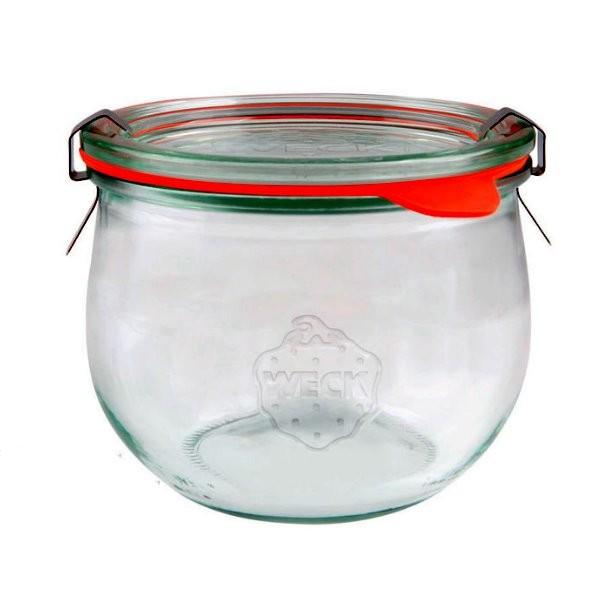 WECK Tulpenglas 580 ml Rundrandglas mit Gummiring und Klammern