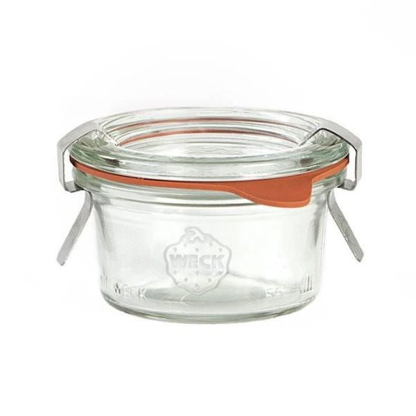 Weck Sturzglas 50 ml Mini-Sturzglas mit Gummiring und Klammern