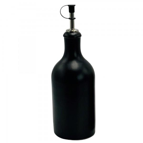Ölflasche Keramik 500 ml schwarz mit Ausgiesser