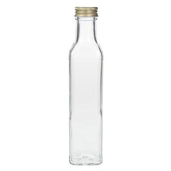 mikken Glasflasche eckig 250 ml Ölflasche Klarglas Likörflasche kaufen