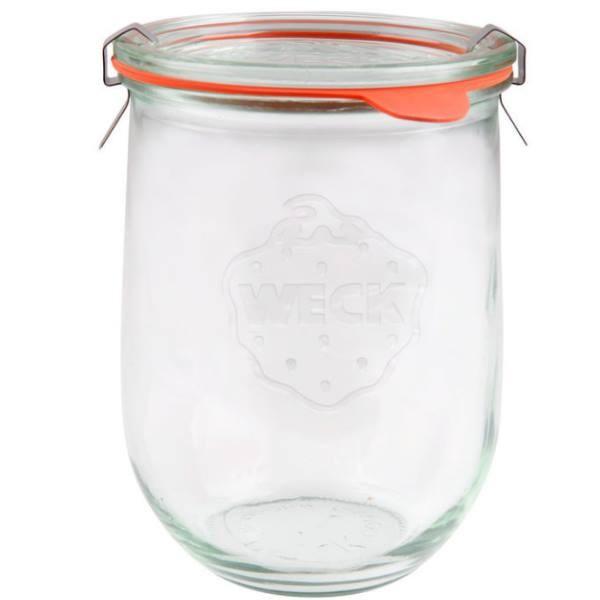 Weck Tulpenglas 1062 ml Rundrandglas mit Gummiring und Klammern