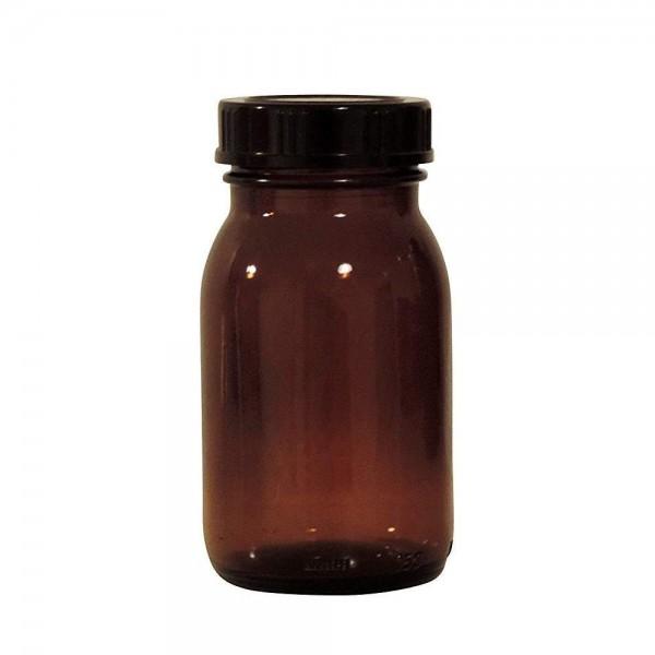 Braune Gewürzgläser 150 ml mit schwarzem Deckel