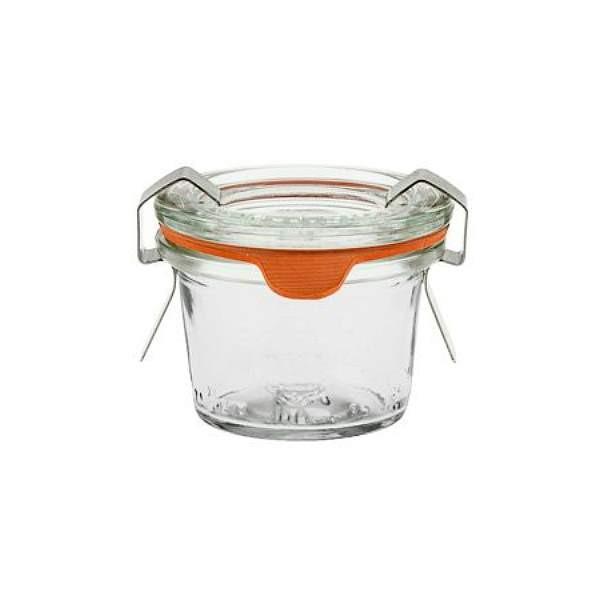 Weck Sturzglas 35 ml Mini-Sturzglas mit Gummiring und Klammern