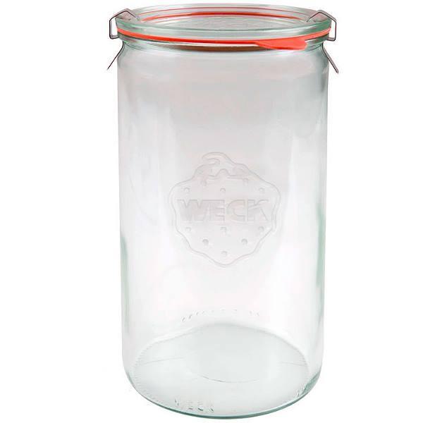 Weckglas Zylinderglas 1590 ml mit Gummiring und Klammern
