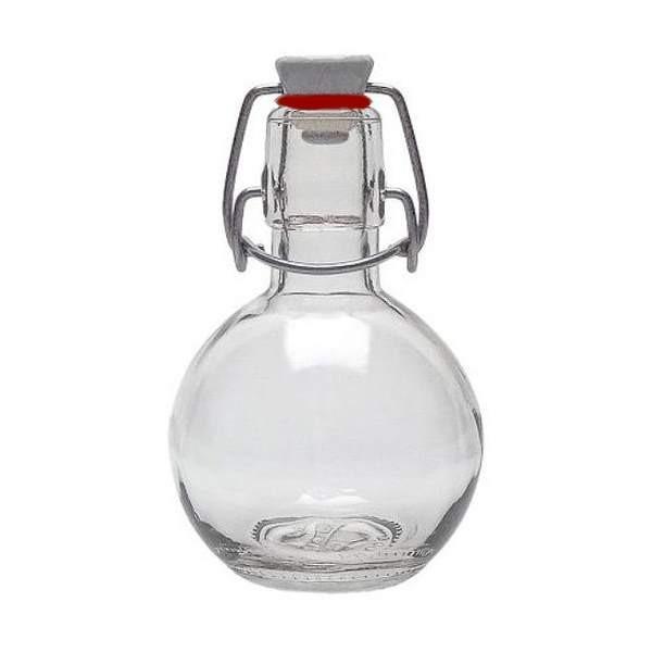 Glasflasche 200 ml mit Bügelverschluss rund Kugel