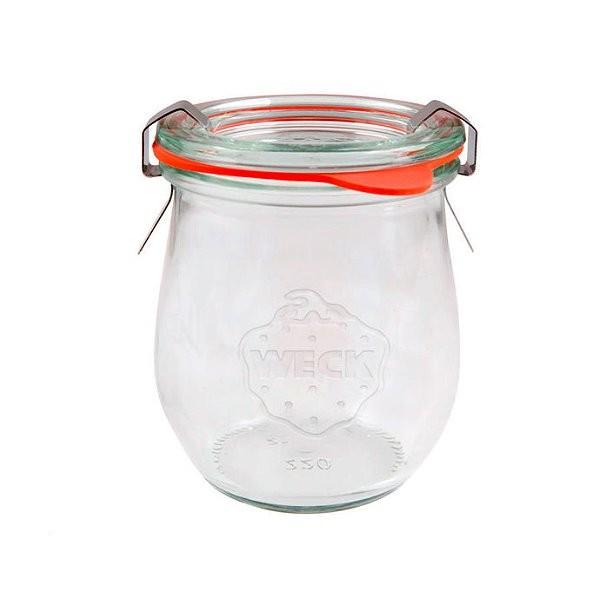 WECK Tulpenglas 220 ml Rundrandglas mit Gummiring und Klammern
