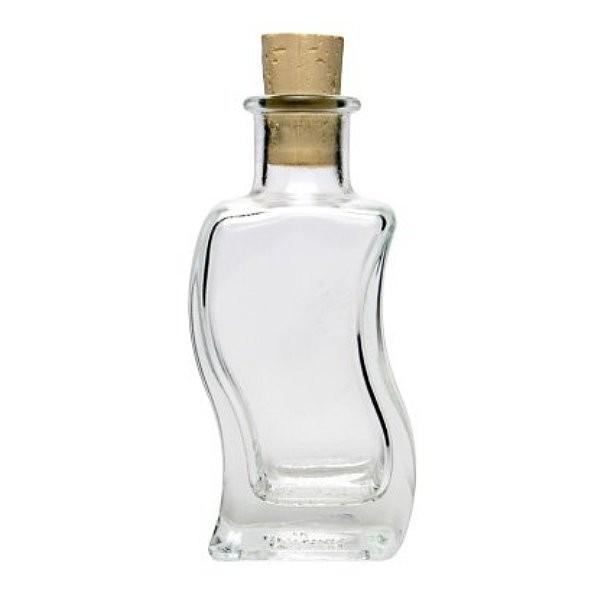Glasflasche 100 ml mit Korken Wellen - Form