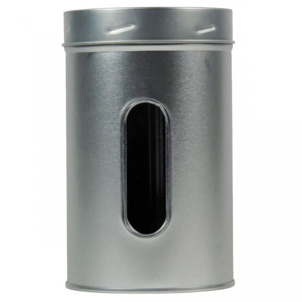 Metalldose Ø 7,5 x 12,5 cm mit Sichtfenster